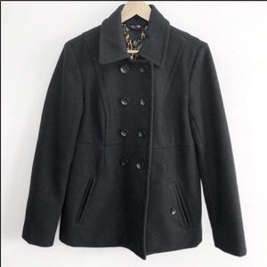 Lucky Brand Black Wool Double Breasted Peacoat-